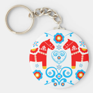 Red Dala Horses Key Ring