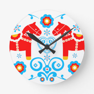 Red Dala Horses Round Clock