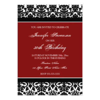 Red Damask 30th Birthday Party Invitations