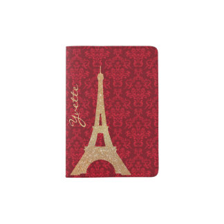 Red Damask and Gold Eiffel Tower Passport Holder