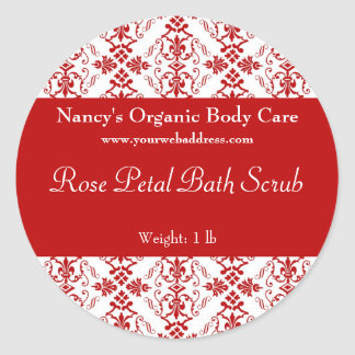 Red Damask bath, soap, and cosmetics label
