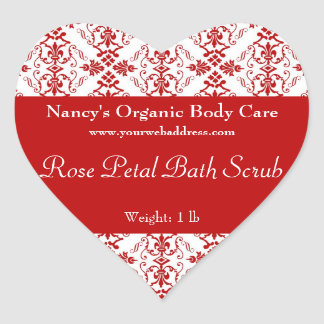 Red Damask bath, soap, and cosmetics label - heart