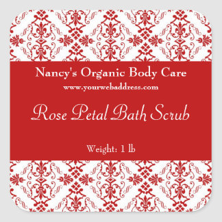 Red Damask bath, soap, and cosmetics label square