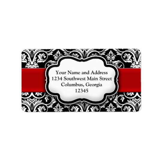 Red Damask Black and White Holiday Address Label