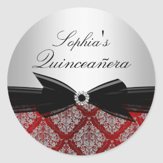 Red Damask & Bow Quinceanera Sticker