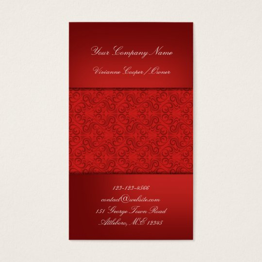 Red Damask Business Card