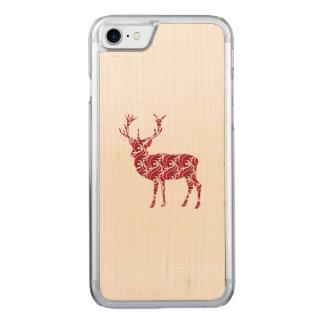 Red Damask Christmas Deer Carved iPhone 8/7 Case