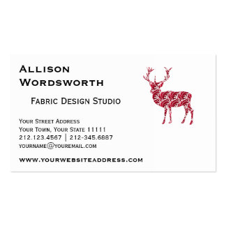 Red Damask Christmas Deer Pack Of Standard Business Cards
