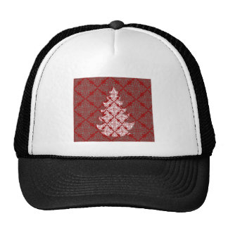Red Damask Christmas Tree Hat