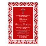 Red Damask Cross Baptism Or Christening 13 Cm X 18 Cm Invitation Card