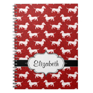 Red Damask Dachshunds Notebook