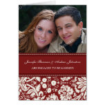 Red Damask Engagement Photo Announcement Card