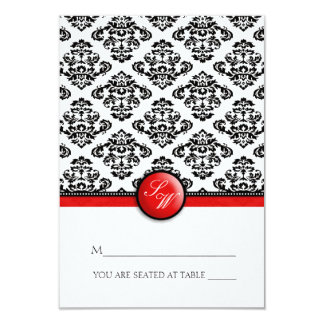 Red Damask Folding Tent  Place Card