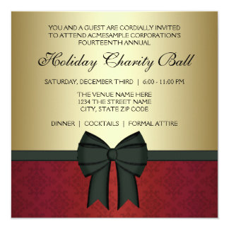 Red Damask Gold Black Tie Corporate Party 13 Cm X 13 Cm Square Invitation Card
