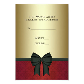 Red Damask Gold Black Tie Corporate Party RSVP 9 Cm X 13 Cm Invitation Card