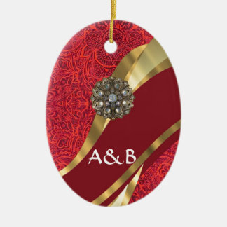 Red damask & gold swirl christmas ornament