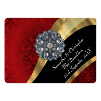 Red damask gold wedding favor thank you tag business cards