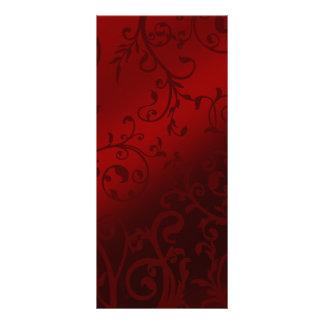 Red Damask Gothic Reception Menu Customised Rack Card