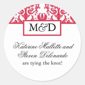 Red Damask Monogram Wedding Stickers