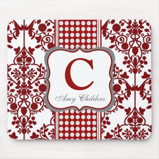 Red Damask Mousepad