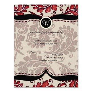 Red Damask Paisley Wedding RSVP 11 Cm X 14 Cm Invitation Card