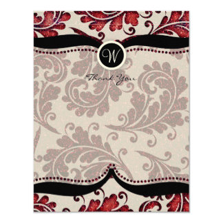 Red Damask Paisley Wedding Thank you Card