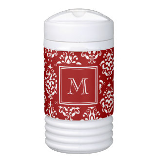 Red Damask Pattern 1 with Monogram Drinks Cooler