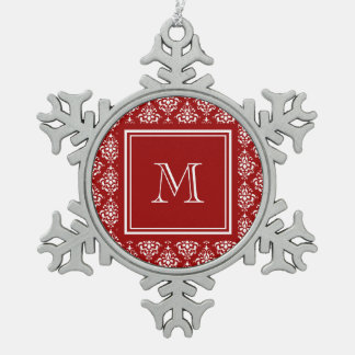 Red Damask Pattern 1 with Monogram Snowflake Pewter Christmas Ornament