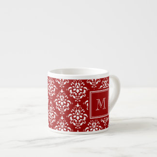 Red Damask Pattern 1 with Monogram Espresso Mugs