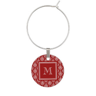 Red Damask Pattern 1 with Monogram Wine Charm