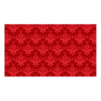 Red damask pattern business card template