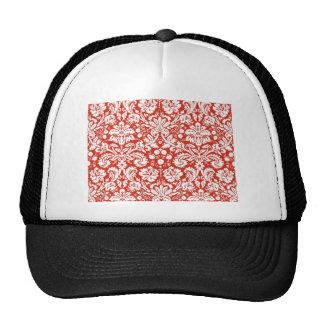 Red damask pattern trucker hat