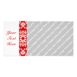 Red Damask Pattern + Custom Color Photo Cards