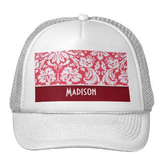 Red Damask Pattern Cute Mesh Hats