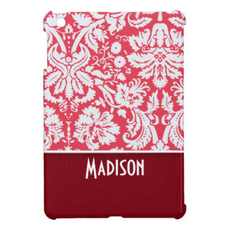Red Damask Pattern; Cute iPad Mini Cases