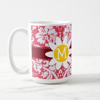 Red Damask Pattern Daisy Coffee Mugs