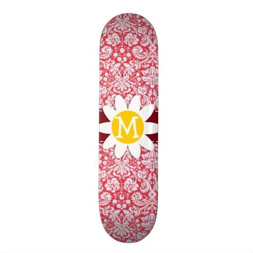 Red Damask Pattern; Daisy Skate Deck