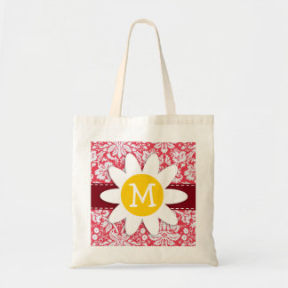 Red Damask Pattern; Daisy Tote Bag
