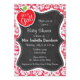 Red Damask Pattern; Gift for Teacher 13 Cm X 18 Cm Invitation Card