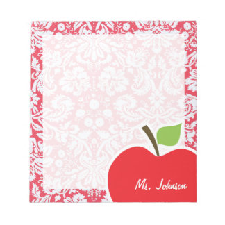 Red Damask Pattern; Gift for Teacher Notepad
