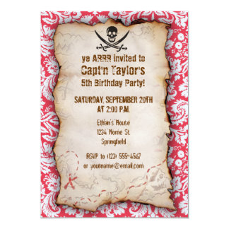 Red Damask Pattern Jolly Roger 5x7 Paper Invitation Card