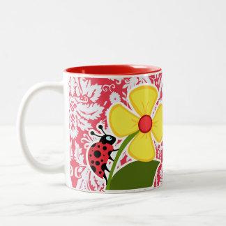 Red Damask Pattern Ladybug Mugs