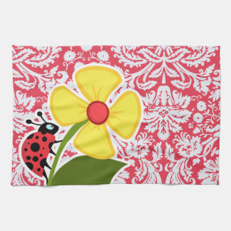 Red Damask Pattern; Ladybug Tea Towel