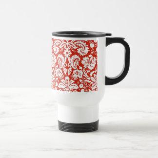 Red damask pattern mug