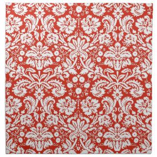 Red damask pattern napkin