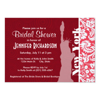 Red Damask Pattern; New York; Statue of Liberty Invitations