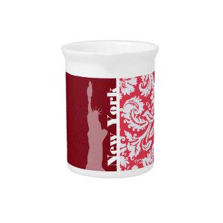 Red Damask Pattern; New York; Statue of Liberty Drink Pitchers