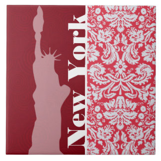Red Damask Pattern; New York; Statue of Liberty Tile