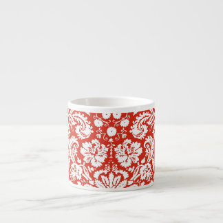 Red damask pattern espresso cup