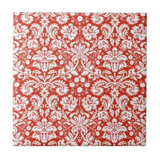Red damask pattern tile